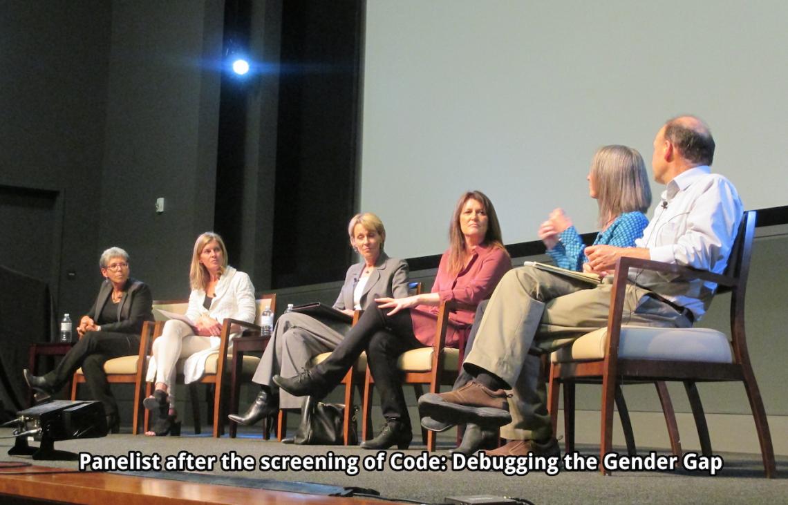 Panel members discussing Code: Debugging the Gender Gap